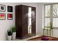 Brand new Lux 3 Door Wardrobe in two colours Center Mirror 3 Door,cupboard, cabinet, wenge, white