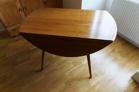 Ercol Drop Leaf Dining Table. Solid Elm Wood. 1960s. Unrestored Condition.