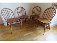 Pair of blonde Ercol 370 Hoop Back Dining Chairs just in ready for refurbishment or use as is