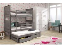 Wooden Bunk Bed Jarek with Trundle and Storage in Graphite