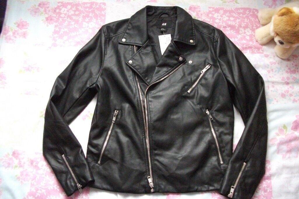 61df5d94f H M Mens faux leather jacket size M