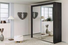 BLACK WALNUT & WHITE! New Full Mirror 2 Door Sliding Berlin Wardrobe in 5 different sizes