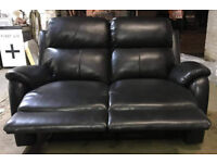 Brand New Tyler 2 Seater Leather Effect Recliner Sofa - Black