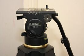 CARTONI BETA 100MM Fluid Head with CARTONI single stage aluminum tripod legs