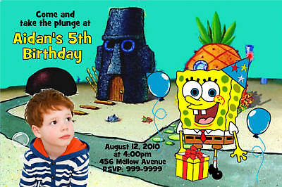 Personalized  Spongebob Photo  Birthday Invitation