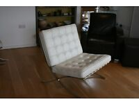 Famous 'Barcelona' reclining chair in white leather