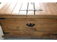 Solid wood rustic plank style storage chest/coffee table