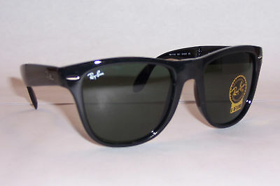 NEW RAYBAN SUNGLASSES FOLDING WAYFARER 4105 601 BLACK/GREEN 50MM AUTHENTIC