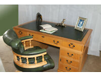 Office Study Desk & Captains Chair Antique Style Yew Twin Pedestal Leather Top