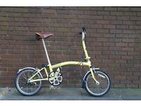 Brompton Folding bike m3l, (Yellow) + brooks saddle