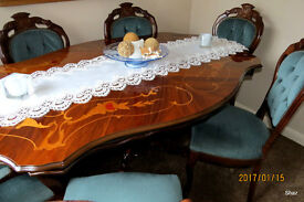 FRENCH/ITALIAN STYLE DINING TABLE + SIX CHAIRS [inc two Carvers]