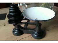 Old cast iron vintage kitchen scales and weights