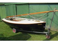 Cornish Cormorant 12 ft sailing dinghy with Combi Trailer