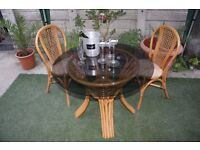 Beautiful Country Cane Conservatory Furniture. Table and 2 Chairs In A Very Good Condition