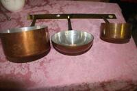 Copper Pots & Pans with Brass Hanging Strip