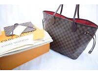Louis Vuitton MM Neverfull women's designer lv bag in brown monogram red interior gg