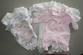Bundle for Newborn tiny baby girl WHITE (bodysuits + sleep suits)