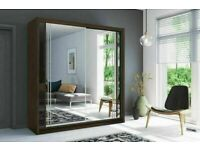 💖👌 MODERN DOUBLE MIRRORED WARDROBE WITH 2 AND 3 FULL GLASS DOORS, ALL SHELVES RAILS