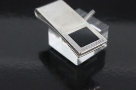 Luxury Bulgari Bvlgari Quadrato .925 Sterling Silver Money Clip with black enamel square