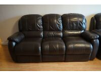 Reclining 3 Piece Brown Leather Suite