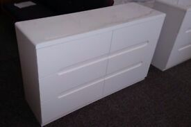 Manhattan White High Gloss 6 Drawer Chest **CAN DELIVER**