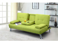 Modern Stylish Fabric Sofa Bed Lime Green 3 Seater £ 150