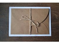 1000 LUXURY Brown Kraft CARD Wedding Invitation Envelopes with String Bow Rustic