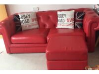 Red leather Chesterfield style sofa, armchair and storage pouffe immaculate condition buyer collects