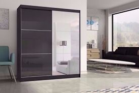 ▒▓【LIMITED EDITION】▓▒░180 cm Wide】▓▒░ Black and White High Gloss Ashford Sliding Door Wardrobe