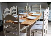 shabby chic solid pine farmhouse dining table and 6 chairs