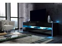 Modern TV Unit 140cm Cabinet White Matt and White High Gloss FREE LED
