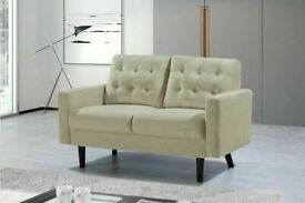 🌈 Best Furniture🌈 MAZZ 2 Seater And 3 Seater Sofa Plush Velvet In Grey and Cream Color Available