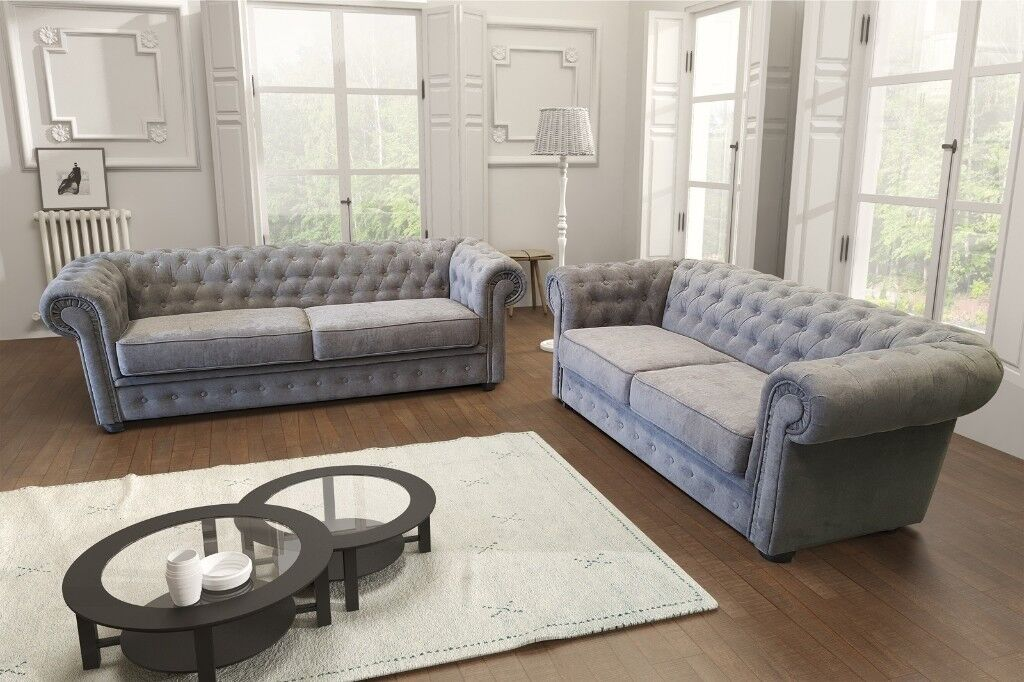 Reduced By 50 Rrp Chesterfield Style Sofa Sets In Leather Or Graceland Fabric Free Uk Delivery