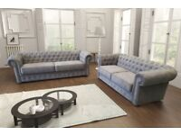 REDUCED BY 50% RRP***CHESTERFIELD STYLE SOFA SETS IN LEATHER OR GRACELAND FABRIC**FREE UK DELIVERY