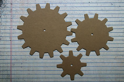 """3 Bare chipboard larger Gear diecuts 3 sizes 2 1/2"""" and 3 1/2"""" and 4 1/2"""""""
