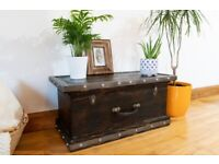 Chest coffee table, vintage brown cottage loft industrial style, reclaimed burnt wood