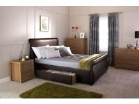 Brand new unboxed kingsize brown leather bed