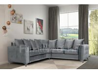 Zoey Corner Plush Steel Suite Sofa BRAND NEW