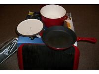 CAST IRON WARE SAUCEPAN WITH LID, FRYING PAN AND GRILL PAN