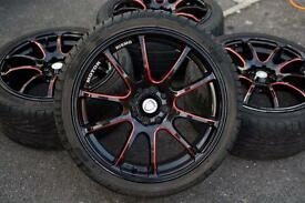 "Calibra Rimso 17"" black with red spokes"