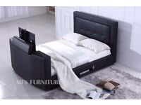 BRAND NEW - TV BED IN KING SIZE - BLACK LEATHER - USB FUNCTION - REMOTE CONTROLLED - BRAND NEW