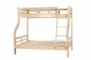 Solid Pine Twin Over Full Bunk Bed with One year warranty