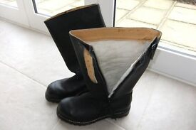 Black leather Biker boots size 10 with Sheepskin lining.