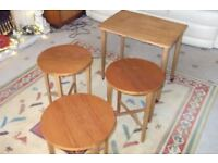 Side table coffee table on castors with 3 small folding tables fitted underneath