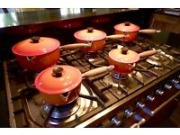 LE CREUSET set of 5 Pans, Volcano Red
