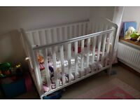 White Mothercare Cot in Excellent Condition