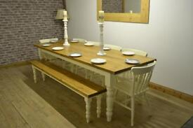 Shabby Chic Solid Pine Farmhouse Dining Table, chairs and bench, country style Painted Laura Ashley