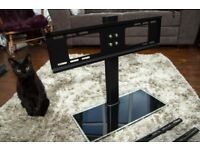 "Tempered Glass TV stand and/or wallmount 32-55"" (Cat not included)"