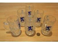 Lowenbrau Blue Dragon Glasses x 6