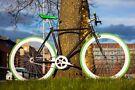 Single Speed Bike, Green tires,  Flip-Flop hub, City Center